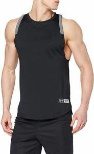 Under Armour Mens Sleeveless Vest Gym Running Tank Top Black Sleeveless Tee