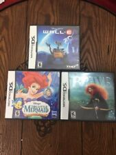 Lot of 3 Disney Games for Nintendo DS Brave Little Mermaid and Wall-E Complete