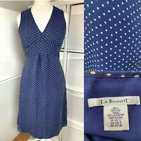 LK Bennett Blue & Taupe 100% Silk Dress Size 12 Spotty Floaty Chiffon Fit Flare