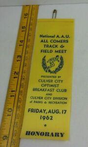 1962 National AAU All Comers track & Field meet press ribbon pass CA Culver City