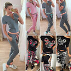 Womens New Fashion 2PCS Tops Shirt Pants Tracksuit Sport Yoga Sweat Suit Outfits