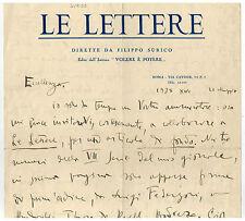 Autografo di Filippo Surico poeta e commediografo Castellaneta fascismo fascista