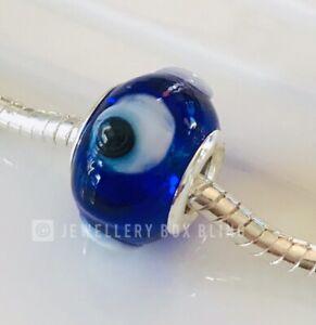 Classic BLUE EVIL EYE Murano Glass European Bead Charm GREEK HELLAS Pandora MATI