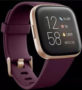 Fitbit Versa 2 Fitness Smart Watch Alexa Bordeax Purple Copper Rose Charger Band