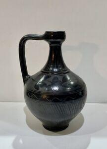 Vintage Hungarian Fazekas Istvan Black Pottery Wine Jug Pattern #5509 Signed