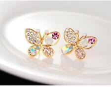 Women jewelry pearl butterfly hollow diamond earrings fashion earrings#