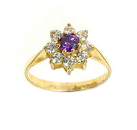 Gold Amethyst Ring Amethyst Cluster Ring Yellow Gold Engagement Ring Size  F - V