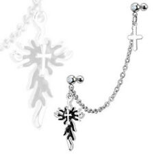 Chain Linked Dangle Gothic Flaming Cross Gemmed Double Cartilage/Tragus Barbell