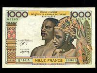 West African States:Ivory Coast,P-103Am,1000 Fr.,1965 * VF *