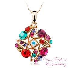 18K Rose Gold Plated Made With Swarovski Crystal Diamond Shaped Cluster Necklace