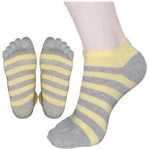 "5 Pairs Womens Striped Low-Cut Toe Socks ""Skin contact surface is 100% cotton"""