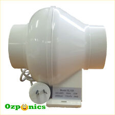 "HYDROPONICS 4""/100MM INLINE DUCT VENTILATING EXHAUST FAN 23W With Plastic Blades"