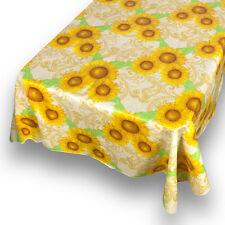 "Sunflower Premum Quality Vinyl Flannel Back Square Tablecloth 52"" x 52"""