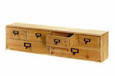 Wooden Cabinet Wall Hang Desktop 6 Drawers Storage Organiser Rustic Wide 80cm