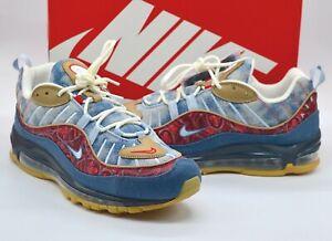 New Nike Air Max 98 Paisley Blue Denim/University Red/Gum Rare Retro sz 11 w/box