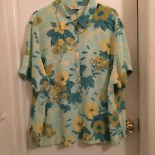 MelRose. Studio, ladies top Size 20W, Shades of Turquoise, NWOT
