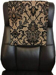 "14"" x 30"" Recliner protector Head Rest Cover Vinyl Sofa seat black damask"