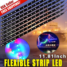 "8X RGB 12"" 30CM 15 LED Flexible Strip Underbody Light Car Motor Truck Decor 12V"