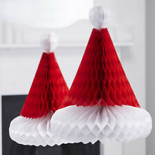 Christmas Honeycomb Santa Hats - Vintage Noel - Xmas Decoration Fun