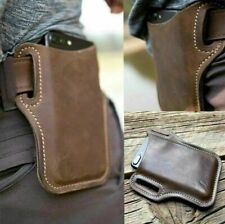 Men's Cell Phone Belt Pack  Loop Waist Holster Pouch Case Genuine Leather Purse