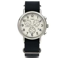 Timex Weekender TW2P62100 Chronograph Blue Leather Strap INDIGLO Unisex Watch