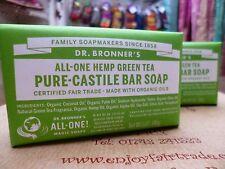 2 Bars 140g Dr. Bronner's Pure Hemp Green Tea Castile Bar Soap Organic Vegan