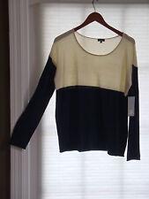 SPLENDID Cream & Navy Blue Scoop Neck Sweater w/ Cashmere Size L NWT