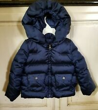 GIRL'S GAP KIDS WARMEST DOWN HOODED PUFFER COAT NAVY SHIMMER XS 4/5 EUC