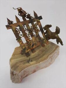 Dog Chasing Bird on Fence Metal/Marble Art Sculpture Statue by Bijan Vtg 70's