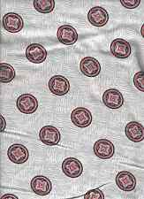 """VTG FLORAL WHEELS BASKET WEAVE SQUARES GRAY WHITE RED FLANNEL FABRIC-34"""" WIDE"""