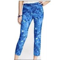 Ann Taylor Carnegie Crop Blue Floral Pants Stretch Womens 4