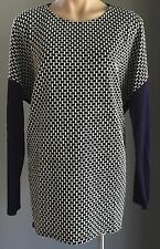 Stylish TEMT Navy & White Long Sleeve Tunic Top Size XL/14
