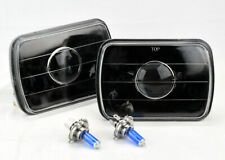 "7x6"" Halogen H4 Black Glass Projector Headlight Conversion Pair w/ Bulbs Dodge"