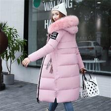 New UK Women winter coat Down jacket Ladies fur hooded jackets Long puffer parka