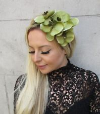 Light Olive Green Orchid Flower Fascinator Headpiece Headband Races Crown 5789