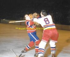 HENRI RICHARD Checked UP HIGH by NYR Lou Fontinato 8x10 Photo MONTREAL CANADIENS