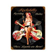 Rockabilly Recording Studios Pin Up Girl Bouclier Métal 38 cm États-Unis Guitar 50 S Retr