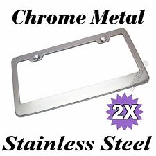 2PCS CHROME STAINLESS STEEL METAL LICENSE PLATE FRAME TAG COVER SCREW CAP /CF2 f