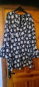 Floral Ditsy Dress Boho Hippy Bell Sleeve Size 18