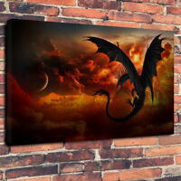 """""""Dragon Attack"""" Printed Canvas Picture Multiple Sizes 30mm Deep Frame Mythical"""