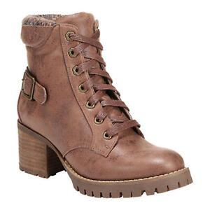 Carlos by Carlos Santana Women Block Heel Combat Booties Gibson Tan Faux Leather
