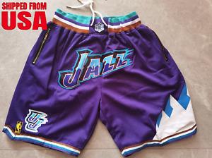 Utah Jazz Shorts Mens Purple Stitched NBA Pocket Basketball Shorts Jazz Shorts