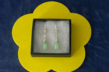 Beautiful Earrings With Jade 4.9 Gr. 4 Cm. Long + 925 Silver Hooks In Gift  Box