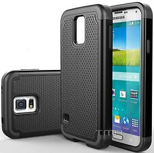 Samsung Galaxy S5 Neo Rugged Rubber Dual Layer Impact Hybrid Hard Case - Black