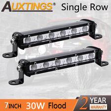 2XSuper Mini 7'' 30W Led Light Bar Flood Single Row Work Driving Lights 4x4 SUV