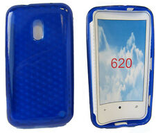 For Nokia Lumia 620 N620 Pattern Soft Gel Case Cover Protector Pouch Blue New UK