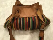 Lucky Brand Vintage Leather Stripe Multi Color Hobo - Boho - Hippie - Satchel