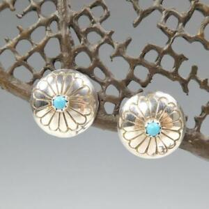 Native American Navajo Sterling Silver Turquoise Concho Button Post Earrings