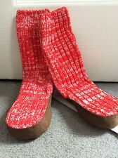 BABY GAP- RED/WHITE MARLED SLIPPER SOCK WITH BROWN FAUX SUEDE SOLE -L 9-10- BNWT