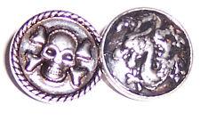 + Set 2 x Click Button Drago & SKULL bottone a pressione/Snap Bead, per click Bracciale UA